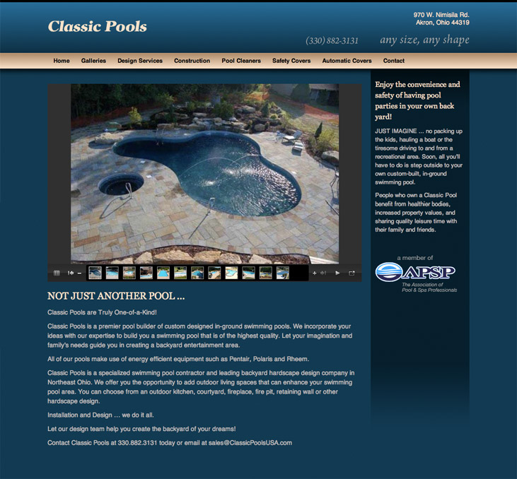 Classic Pools Website DesignMonkey Ltd