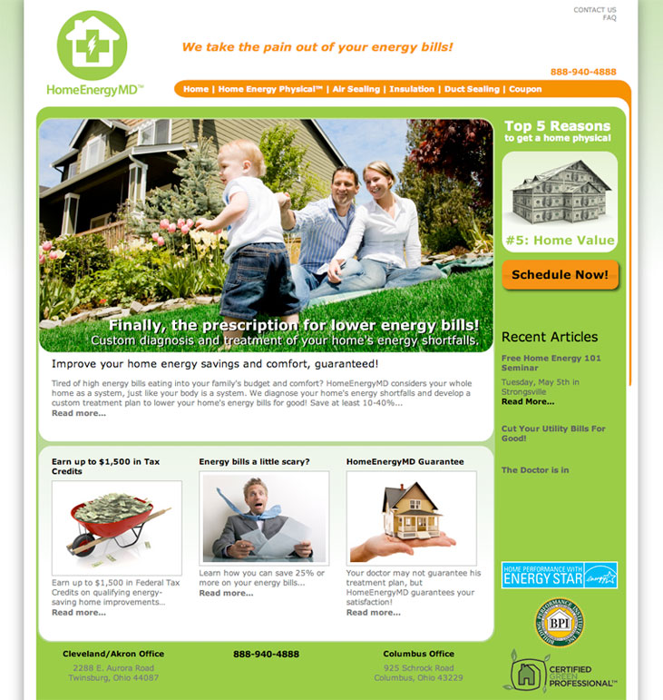 Web site design for Home Energy MD, a home energy audit company in Twinsburg, Ohio.