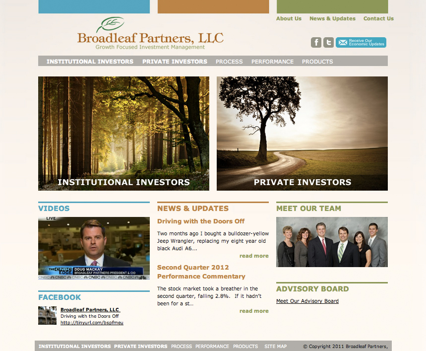 Design and implementation of a custom WordPress website template for Broadleaf Partners, an investment consulting company.