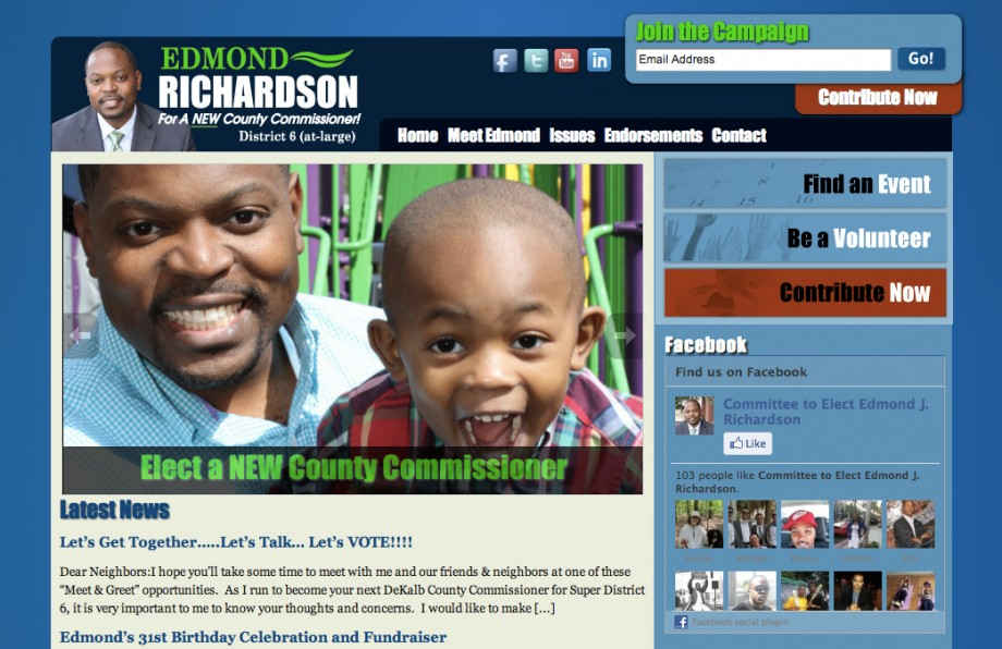 Custom wordpress campaign website template for Edmond Richardson.