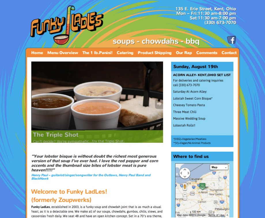 Custom Wordpress restaurant theme for Funky Ladles, a soup restaurant in Kent, Ohio.