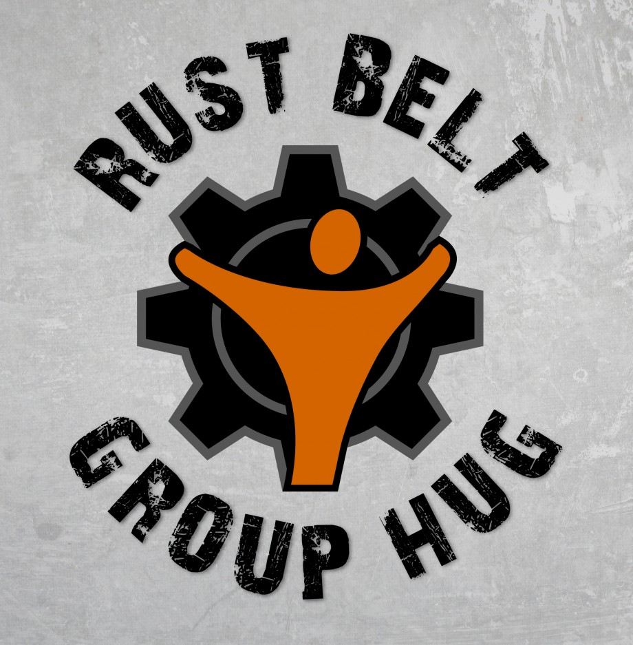 Logo design for Rust Belt Group Hug, a community-building initiative throughout the rust belt.