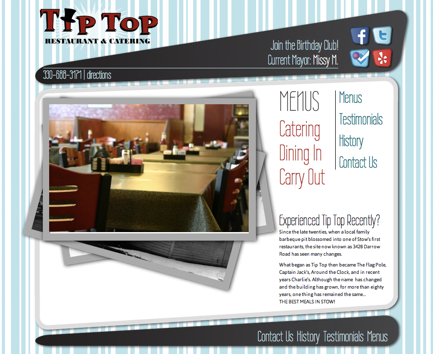 Custom Wordpress restaurant template design for Tip-Top, a diner in Stow, Ohio.