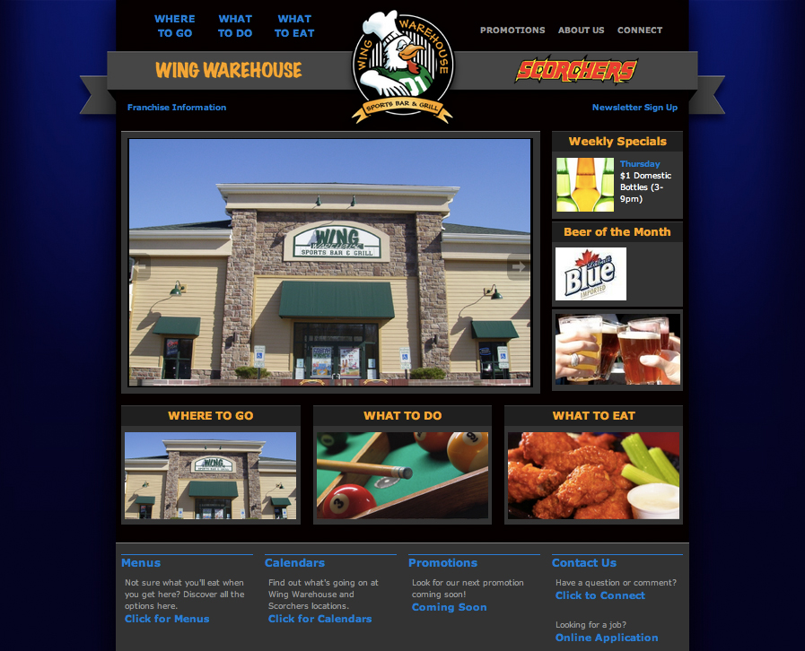 Custom wordpress design for Wing Warehouse in Stow, Ohio