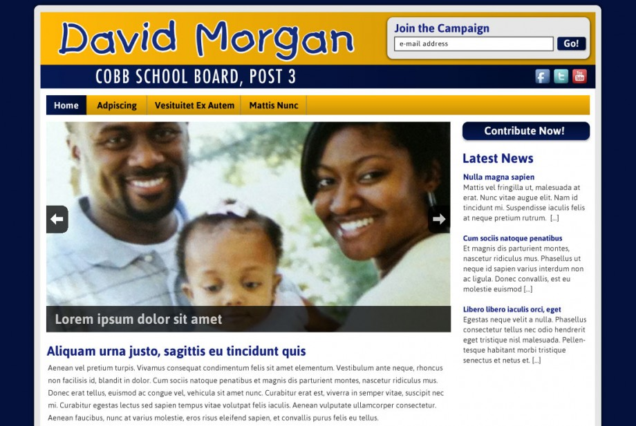 Website design and custom wordpress template implementation for a political website for David Morgan.
