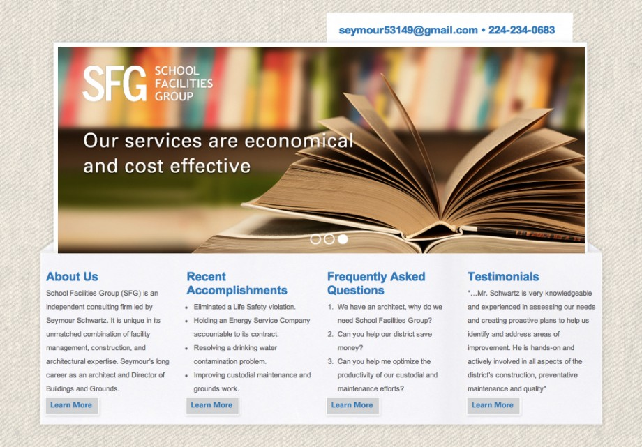 A custom consultant Wordpress theme for School Facilities Group, in Chicago, Illinois.
