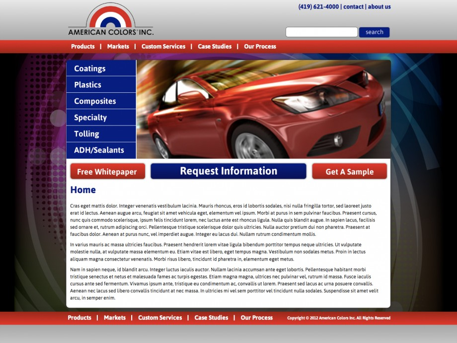 Website design and custom wordpress template implementation for a American Colors