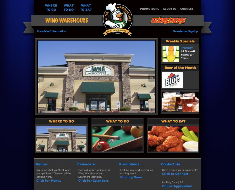 Custom wordpress design for Wing Warehouse in Stow, Ohio